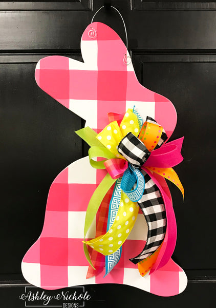 Bunny - Pink Buffalo Check - Door Hanger