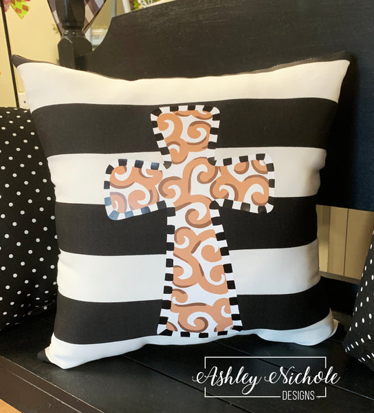 "18"" Custom-Cross Neutral Pillow"