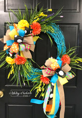 Turquoise Floral Spring-Summer Wreath-Oval