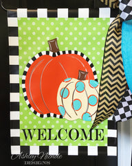 Double Pumpkin Vinyl Garden Flag