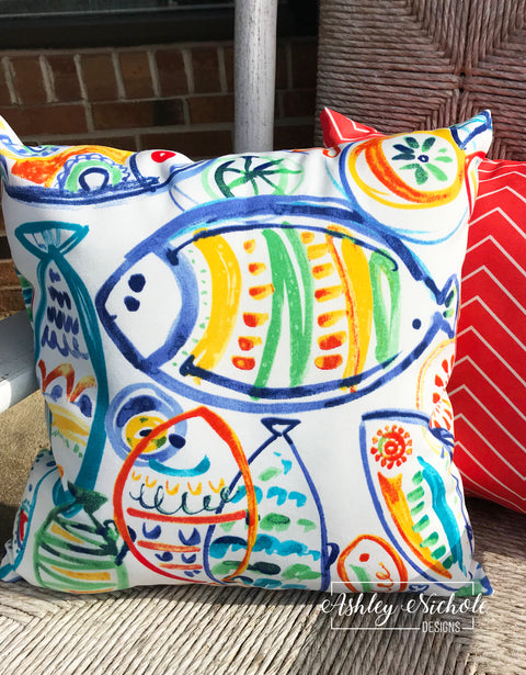 "18"" Outdoor Pillow-Solarium Seaside"