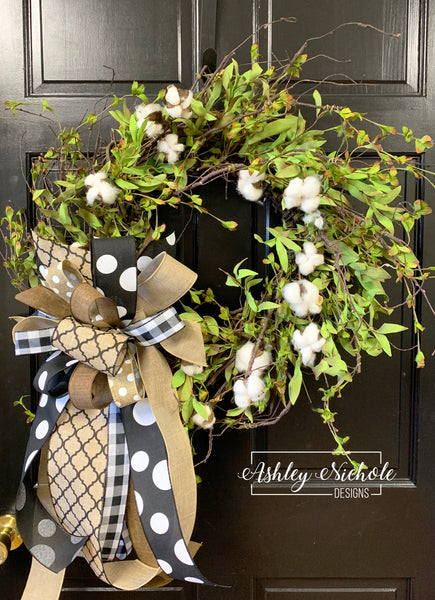 "24"" Cotton and Greenery Wispy Wreath"