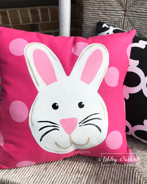 "18"" Custom-White Bunny Face Pillow"