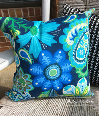 "18"" Outdoor Pillow-Flower Child Sapphire"