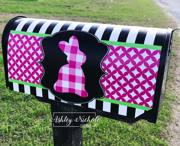 Bunny - Pink Buffalo Check - Mailbox Cover