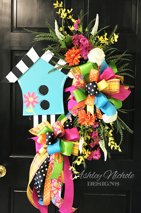 *TOP SELLER* Birdhouse Floral Wreath - Turquoise