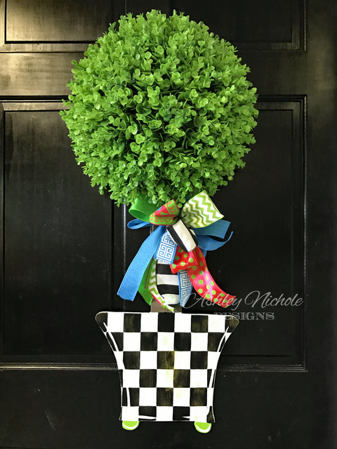 Spring Topiary - Single Ball Checkered - Door Hanger