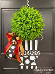 Fall Topiary - Black and White with Large Base - Door Hanger