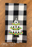 Christmas Tree - Black and White Buffalo Check Dish Towel
