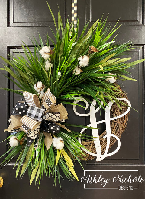 "18"" Initial Everyday Neutral Cotton and Grass Round Wreath"