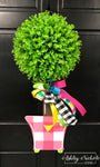 Buffalo Check Topiary - Single Ball - Pink or Black- Door Hanger