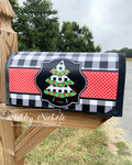 Christmas Tree - Black and White Buffalo Check Vinyl Mailbox Cover