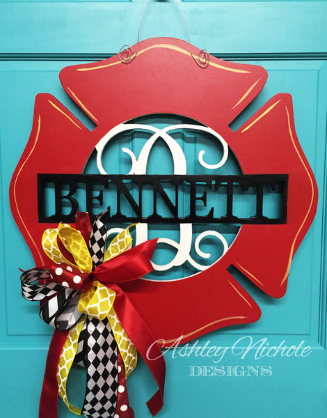 Firefighter Monogrammed Door Hanger - Red