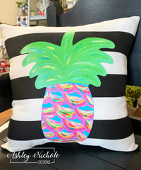 "18"" Custom-Pineapple Tropical Colors Abstract on Stripe Fabric"