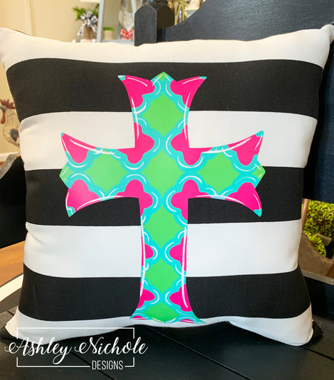 "18"" Custom-Scalloped Cross Pillow"