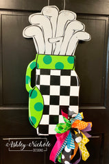 Golf Bag Door Hanger - Black and White Checkered