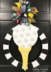 Golf Tee Door Hanger with Black/White Frame