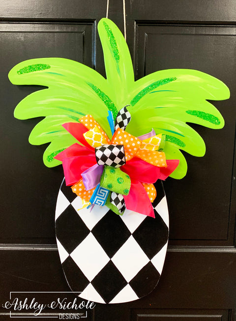 Pineapple - Harlequin with Glittered Top - Door Hanger