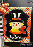 Scarecrow - Black/White with Acorn - Garden Vinyl Flag