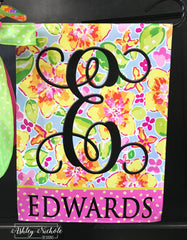 Lilly Inspired Floral Initial and Name Garden Vinyl Flag