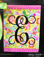 Lilly Inspired Floral Initial Garden Vinyl Flag