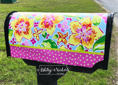 Lilly Inspired Floral Vinyl Mailbox Cover