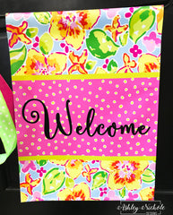 Lilly Inspired Floral Welcome Flag