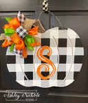 Buffalo Check BLACK Pumpkin Door Hanger
