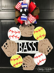 Baseball and Softball Monogram Name Door Hanger