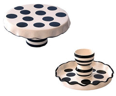 BLACK Polka Dot Chip and Dip Set