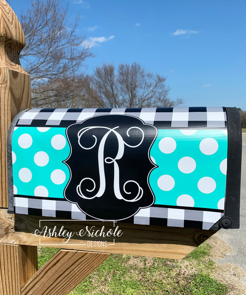 Buffalo Check and Polka Dot Initial Vinyl Mailbox Cover