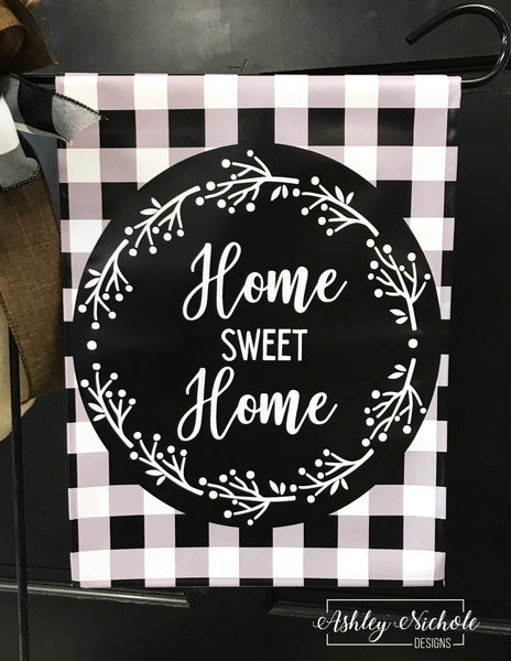 Buffalo Check Home Sweet Home Garden Vinyl Flag