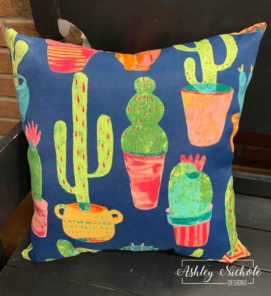 "18"" Outdoor Pillow-Colorful Cactus Print"