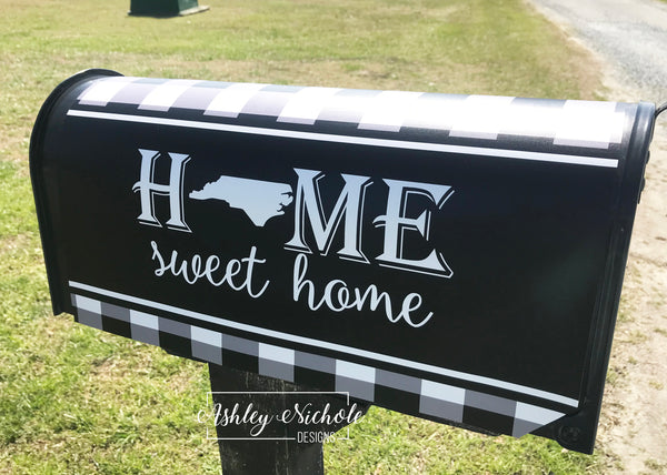 Buffalo Check Custom Home Sweet Home Vinyl Mailbox Cover