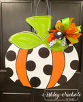 Whimsical Fun Pumpkin - Polka Dot - Door Hanger