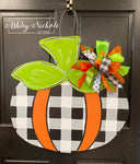 Whimsical Fun Pumpkin - Buffalo Check - Door Hanger