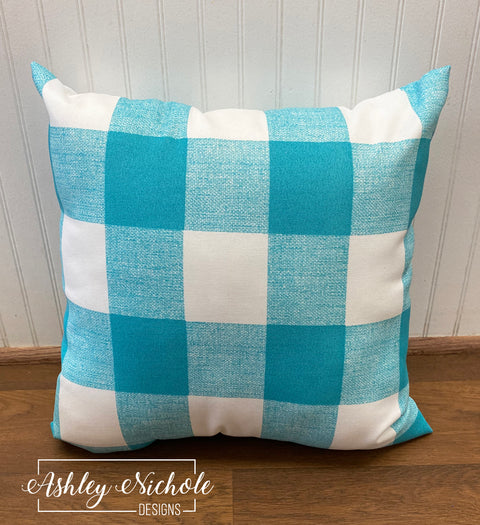 "18"" Outdoor Pillow-Turquoise & White Buffalo Check"
