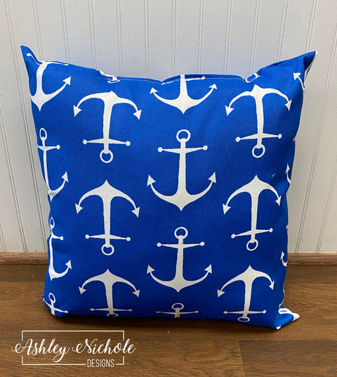 "18"" Sailor Cobalt - Anchor - Outdoor Pillow"