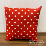 "18"" Outdoor Pillow-Polka Dot American Red"