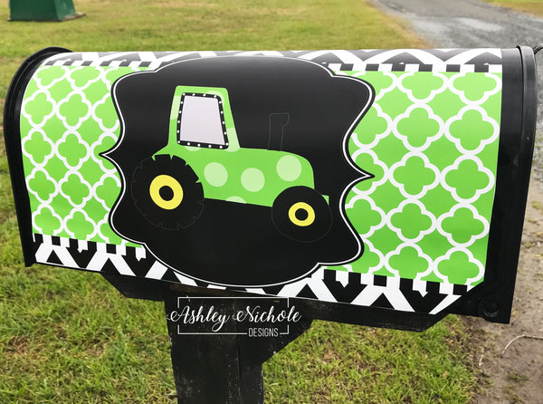 Tractor-Green Vinyl Mailbox Cover