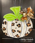 Leopard Fun Pumpkin - NEUTRAL- Door Hanger