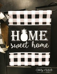 Buffalo Check Custom Home Sweet Home Garden Vinyl Flag