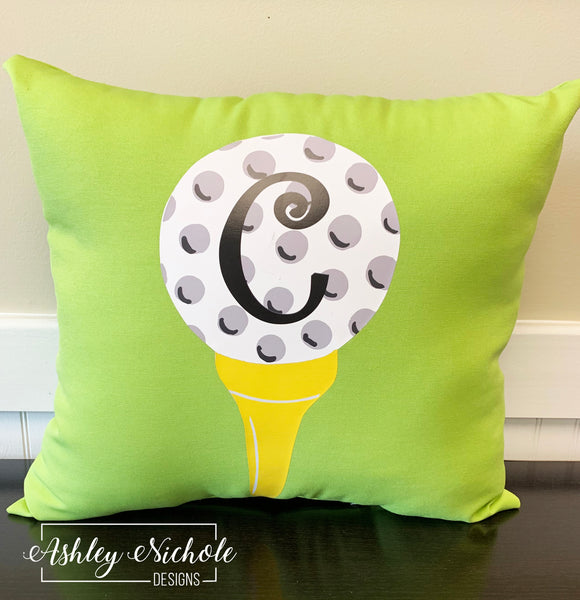 "18"" Custom-Golf Tee Pillow on Lime Green Fabric"