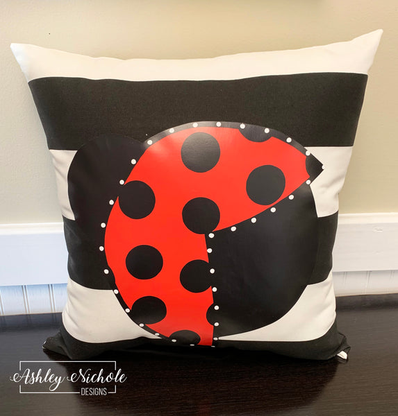 "18"" Custom-Ladybug Pillow on Stripe Fabric"