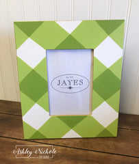 Buffalo Check Photo Frame - GREEN - Metal
