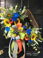 Morning Glory and Sunflower Square Wreath
