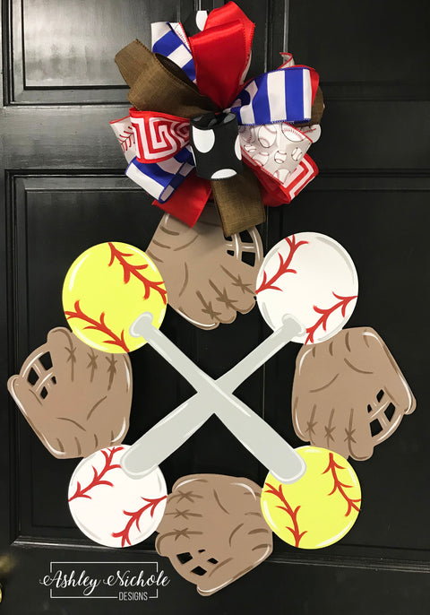 Baseball and Softball Bat and Glove Door Hanger