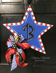 Small Funky Star - Blue Center - Door Hanger