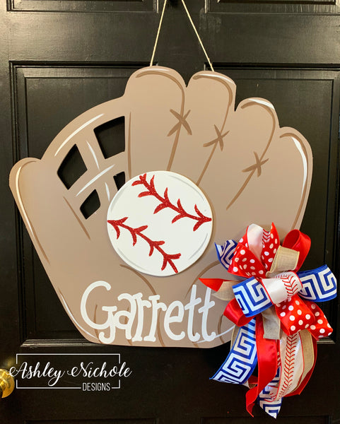 Baseball Glove and Ball Door Hanger