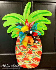 Pineapple - Traditional (Red) Colors Abstract - Door Hanger